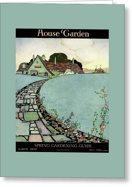 House And Garden Spring Garden Guide Greeting Card by Harry Richardson