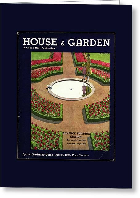 House And Garden Spring Gardening Guide Cover Greeting Card by Andre E.  Marty