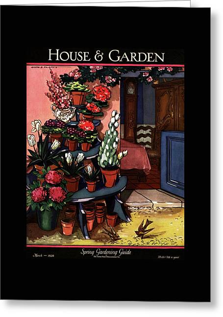 House And Garden Spring Gardening Guide Cover Greeting Card by Joseph B. Platt