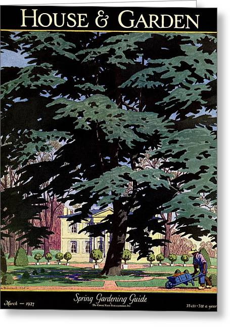 House And Garden Spring Gardening Guide Cover Greeting Card by Pierre Brissaud