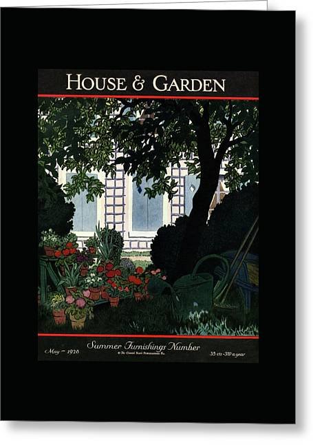 House And Garden Summer Furnishings Number Cover Greeting Card by Pierre Brissaud
