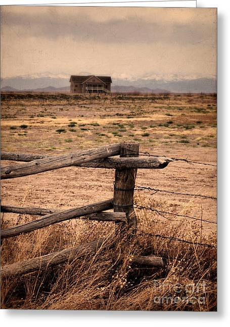 House And Mountains Greeting Card