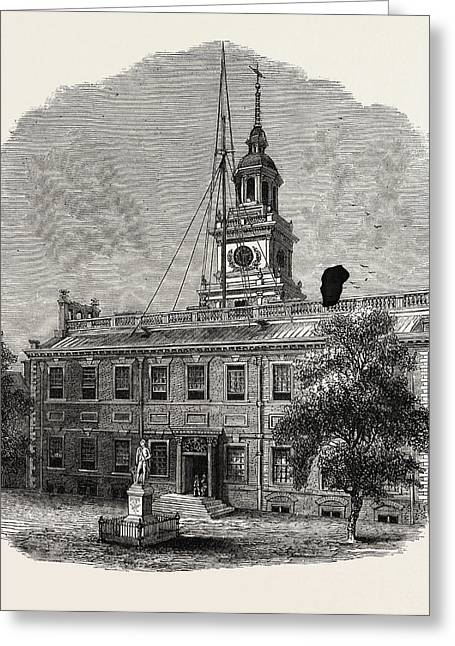 House At Philadelphia In Which The First Congresses Greeting Card