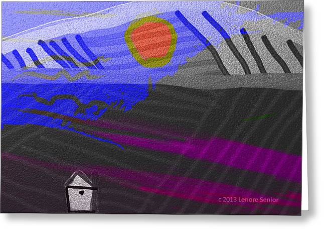 House At The Bottom Of The Hill Greeting Card by Lenore Senior