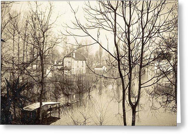 House Flooded Suburb Of Paris Seen Through Bare Trees Greeting Card