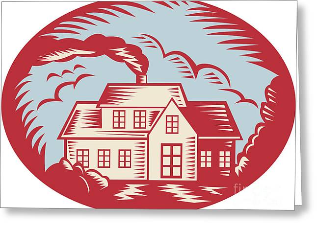 House Homestead Cottage Woodcut Greeting Card by Aloysius Patrimonio