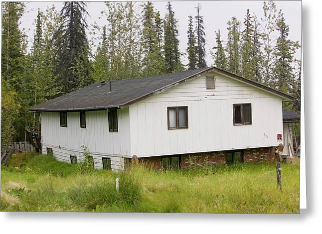 House In Fairbanks Alaska Collapsing Greeting Card by Ashley Cooper