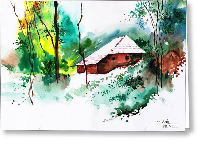 House In Greens 1 Greeting Card by Anil Nene