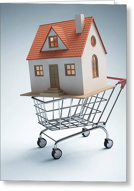 House In Shopping Trolley Greeting Card by Ktsdesign