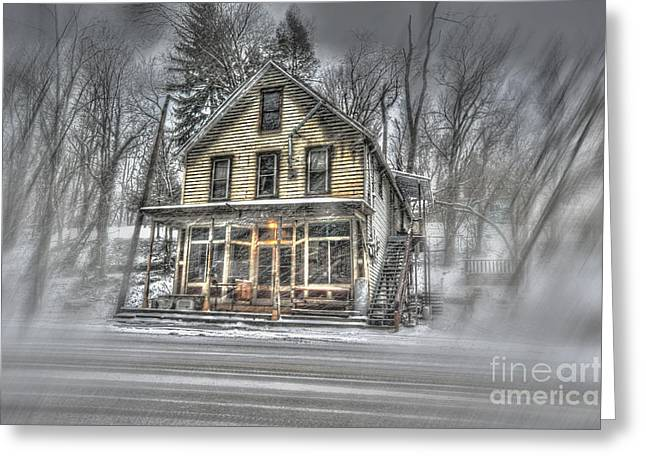 House In Snow Greeting Card by Dan Friend