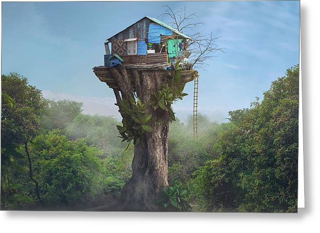 House In The Sky Greeting Card