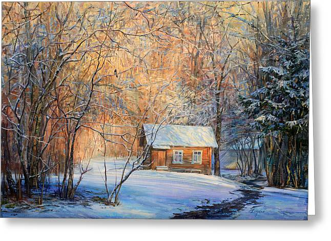 House In The Winter Forest  Greeting Card