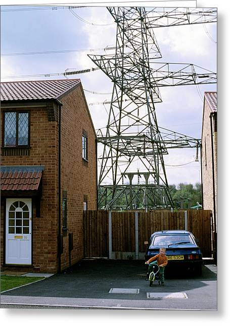 House Near Power Lines Greeting Card
