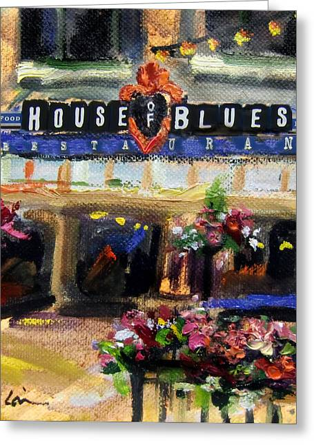 House Of Blues - Original Sold Greeting Card by Mitzi Lai