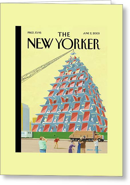 House Of Cards Greeting Card by Bruce McCall