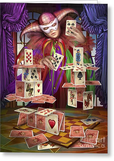 House Of Cards Greeting Card by Ciro Marchetti