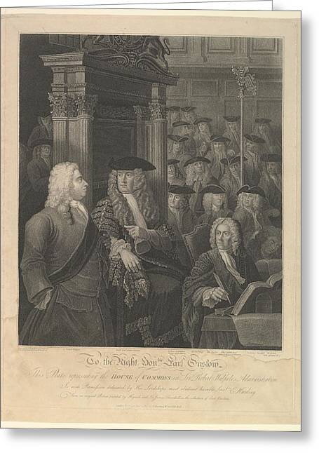 House Of Commons - Sir Robert Walpoles Greeting Card by After William Hogarth