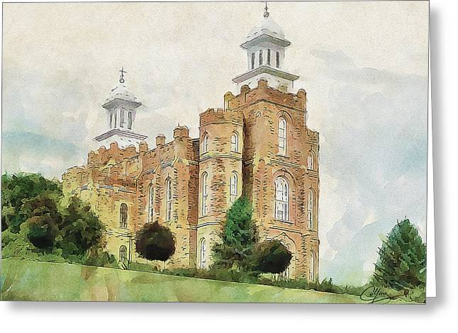Greeting Card featuring the painting House Of Defense by Greg Collins