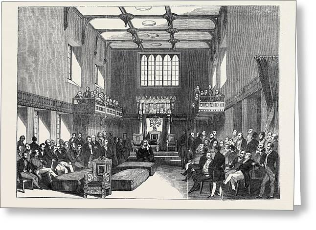 House Of  Lord Chancellor Pronouncing Judgment In The Case Greeting Card by English School