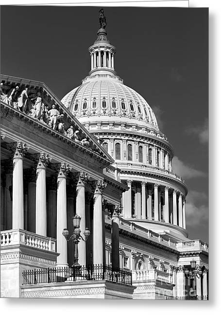 House Of Representatives And The Capitol Black And White Greeting Card by Jerry Fornarotto