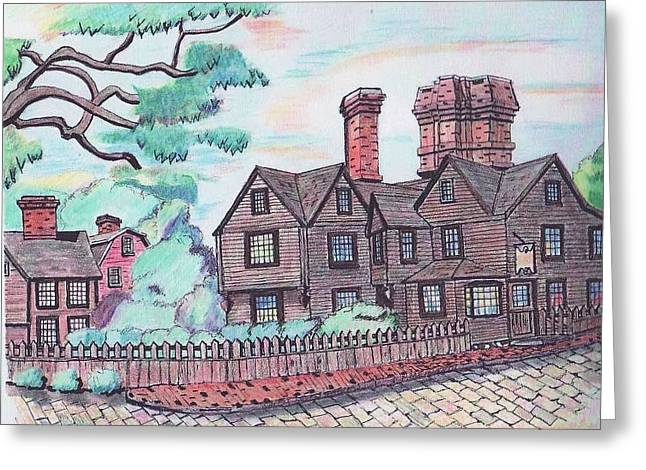 House Of Seven Gables Greeting Card by Paul Meinerth