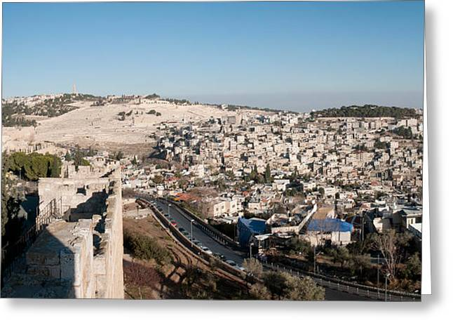 House On A Hill, Mount Of Olives Greeting Card by Panoramic Images