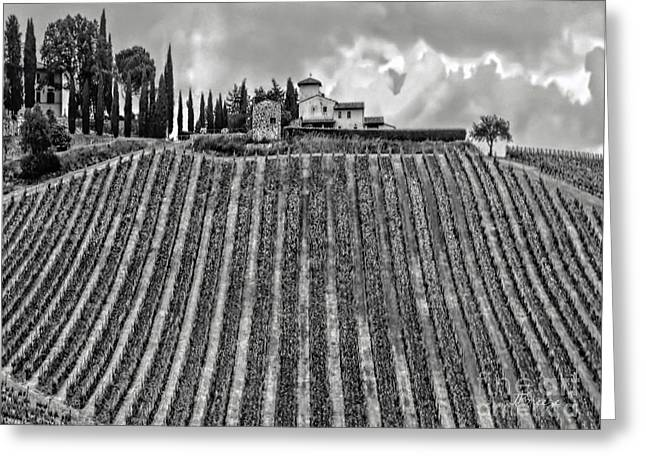 House On A Hill-tuscany-bw Greeting Card by Jennie Breeze