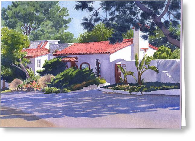 House On Crest Del Mar Greeting Card by Mary Helmreich