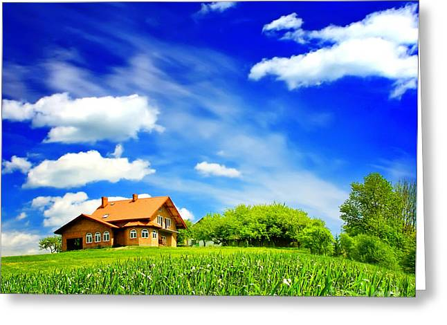 House On Green Greeting Card by Boon Mee