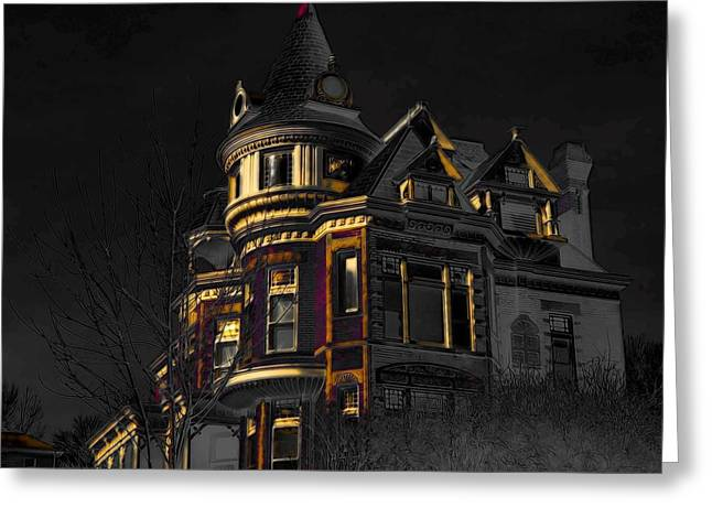 House On The Hill Greeting Card by Liane Wright