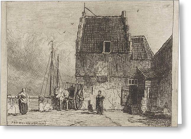 House On The Waterfront In Nijmegen, The Netherlands Greeting Card by Jan Weissenbruch