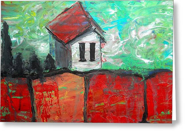 House On Top Of The Ridge II Greeting Card by Laura Carter
