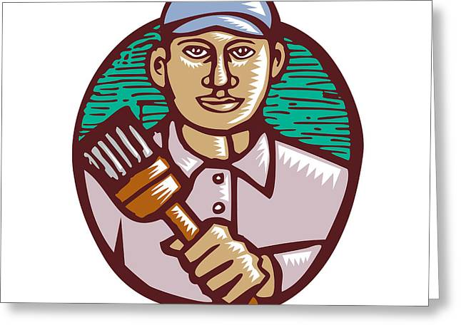 House Painter Paintbrush Woodcut Linocut Greeting Card