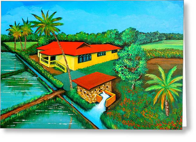 House With A Water Pump Greeting Card by Cyril Maza