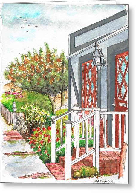 House With A White Handrail In Laguna Beach - California Greeting Card