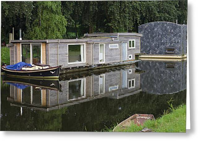 Houseboats In Canal Greeting Card by Hans Engbers