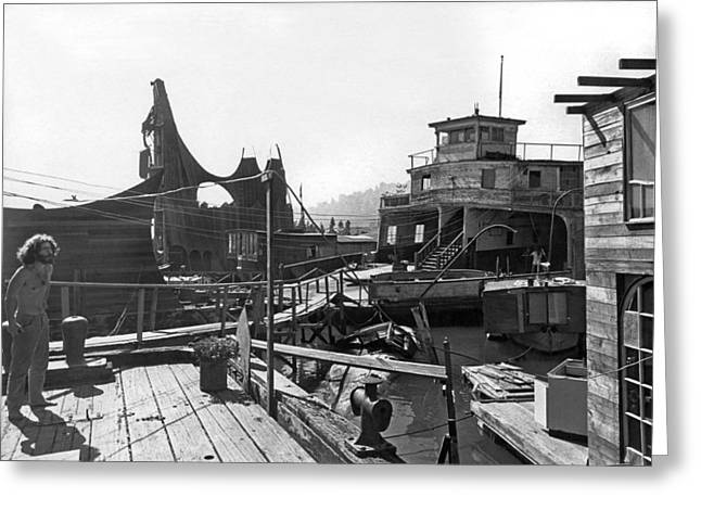 Houseboats In Sausalito Greeting Card by Underwood Archives