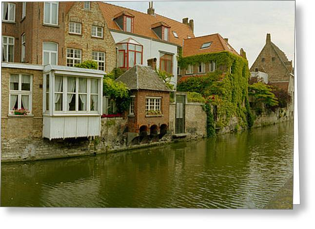 Houses Along A Channel, Bruges, West Greeting Card by Panoramic Images