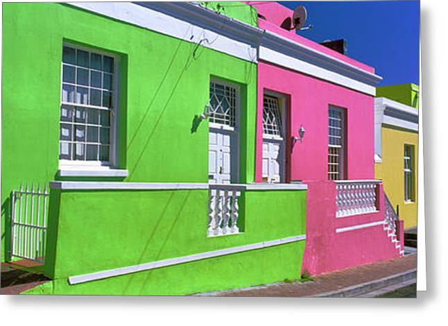 Houses Along A Street, Bo-kaap, Cape Greeting Card by Panoramic Images