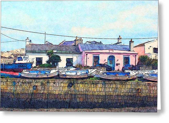 Houses And Boats On Howth Greeting Card by Miki De Goodaboom