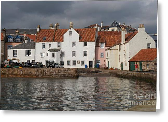Houses At Pittenweem Harbor Greeting Card
