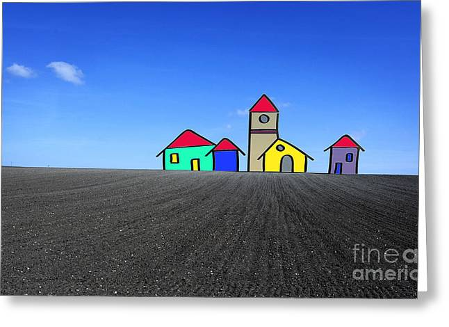 Houses. Field Concept Greeting Card