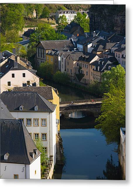 Houses In A Town, Grund, Luxembourg Greeting Card by Panoramic Images