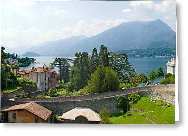 Houses In A Town, Villa Melzi, Lake Greeting Card by Panoramic Images