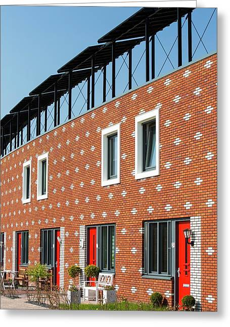 Houses In Almere With Solar Pv Panels Greeting Card by Ashley Cooper