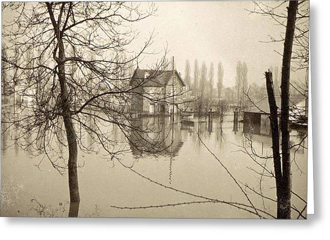 Houses In Flooded Suburb Of Paris Seen Through Bare Trees Greeting Card