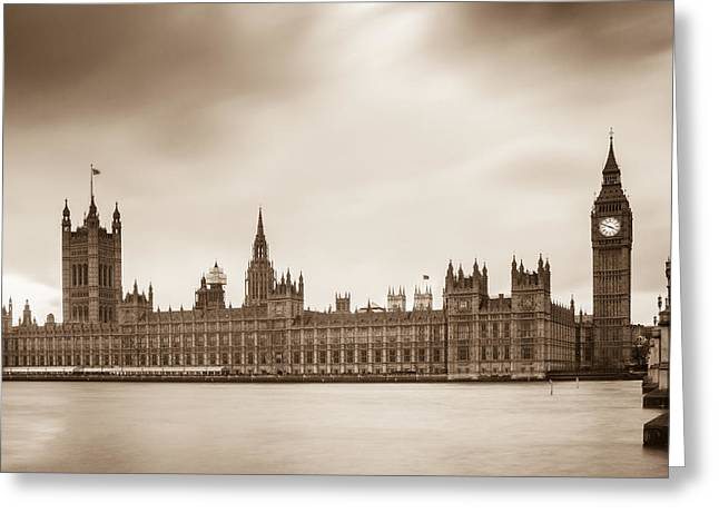 Houses Of Parliament And Elizabeth Tower In London Greeting Card