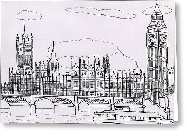 Houses Of Parliament Greeting Card by Bav Patel