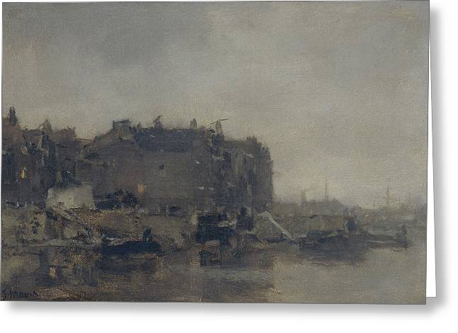 Houses On The Prins Hendrikkade Amsterdam On A Foggy Day Greeting Card by Litz Collection