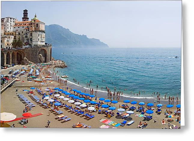 Houses On The Sea Coast, Amalfi Coast Greeting Card by Panoramic Images